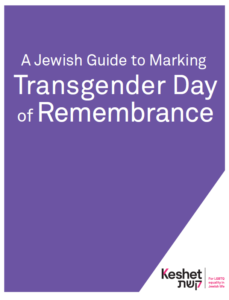 Image is the cover of the Jewish Guide to Marking Transgender Day of Remembrance