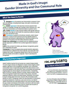 Image is the first page of the Gender Diversity and the Communal Role handout. It has a combination of text and graphics on it. The upper right has a purple cartoon unicorn standing on its hind legs.
