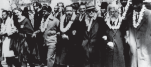 Rev. Dr. Martin Luther King, Jr., Rabbi Abraham Joshua Heschel, and others marching in Selma, Alabama, March 21, 1965.