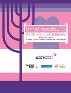 Image is the cover of the Kol Bmishpachat Elohim guide. The cover has pink and purple geometric elements on it and the logos of four sponsoring organizations: The National Gay and Lesbian Task Force, Keshet, COLAGE, and the Family Equality Council.