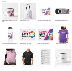 image contains various items from Keshet store, including Safe Zone stickers, 7 Jewish values posters, T-shirts, and more!