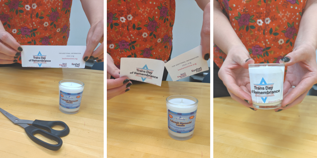 Three photos demonstrating the instructions for adding the sticker to a candle.