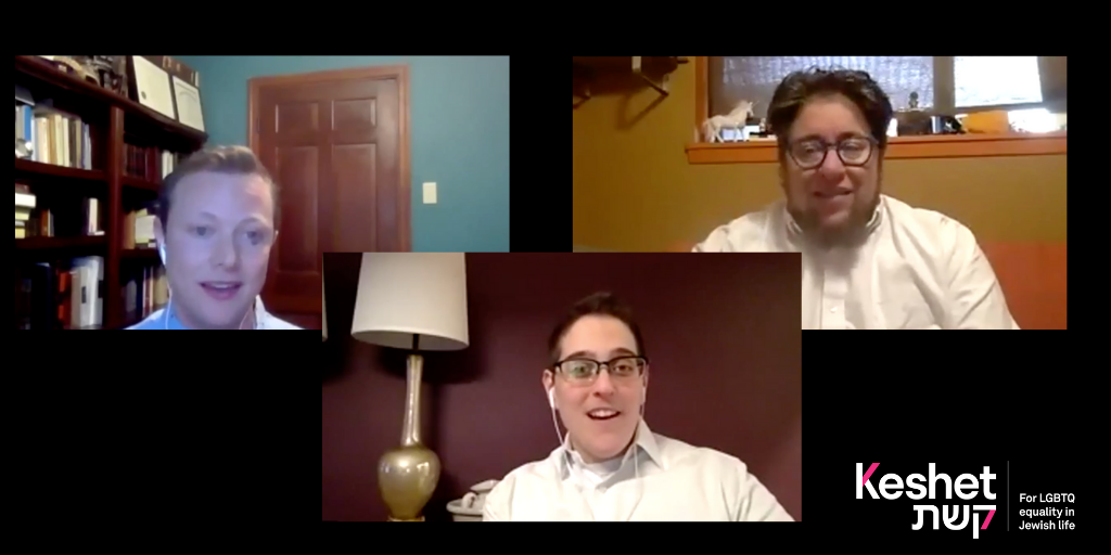A screenshot of three people taking part in a video call