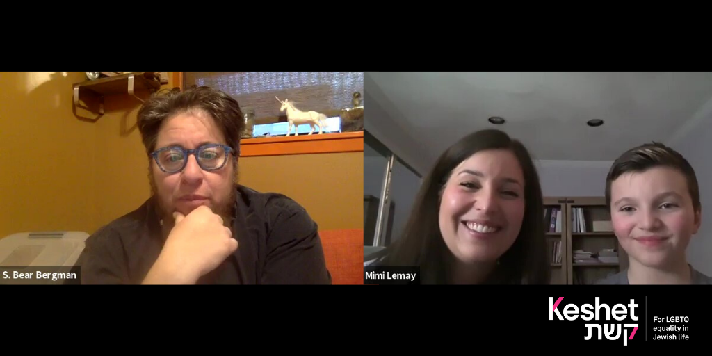 Image shows a screenshot of Bear Bergman chatting with Mimi and Jacob Lemay in a video conference call