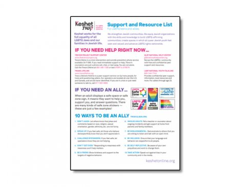 Support and Resource List for LGBTQ Teens and Allies